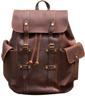 Touri Military Style Genuine Leather Backpack In Russet Brown