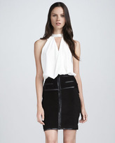 Robert Rodriguez Leather-Trim Suede Skirt