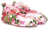 Dolce & Gabbana rose print ballerinas - kids - Leather/Polyester - 18