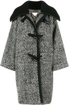 Chloé stripe oversized cocoon coat - women - Wool/Cotton/Polyamide/Viscose - 38