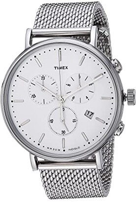 Timex Fairfield Chrono Mesh (Silver/White) Watches