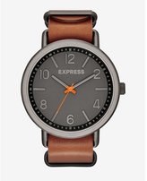 Express analog leather strap watch - brown