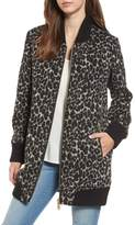 Sam Edelman Women's Leopard Print Longline Bomber Jacket