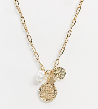 Reclaimed Vintage Reclaimed Vintag inspired mystic coin statement necklace in gold