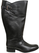 Yours Clothing Black Knee High Leather Riding Boots With XL Calf Fitting In EEE Fit