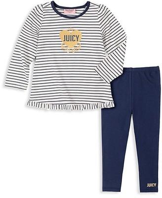 Juicy Couture Little Girl's 2-Piece Striped Cotton-Blend Top & Pants Set