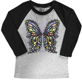 Micro Me Gray & Black Butterfly Kisses Raglan Tee - Toddler & Girls
