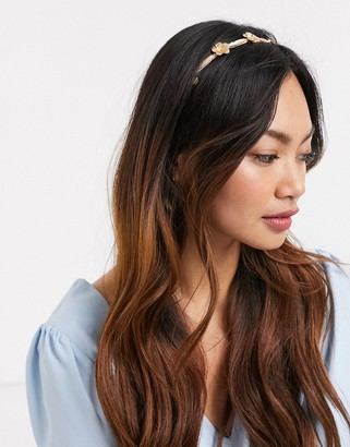ASOS DESIGN headband with delicate leaf and flower embellishment in pink