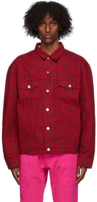 we11done Red Denim Zebra Jacket