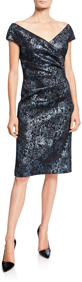 Rickie Freeman For Teri Jon Metallic Floral Jacquard Off-Shoulder Sheath Dress