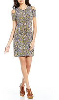 MICHAEL Michael Kors Aubrey Paisley Print Matte Jersey Short Sleeve Cold-Shoulder Dress