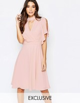 Elise Ryan Cross Front Midi Dress with Fluted Sleeve