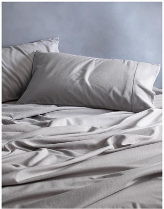 Sheridan Flannelette Plain Dyes Sheet Set in Cloud Grey Silv Grey Queen