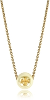Tory Burch Ivory Crystal Pearl Goldtone Brass Chain Necklace