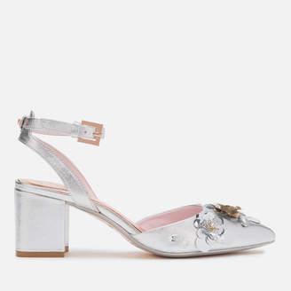 Ted Baker Women's Odesca Floral Embellished Block Heeled Sandals - Silver