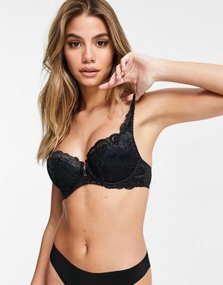 Gossard lace lightly padded balcony bra in black