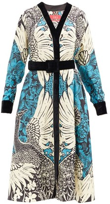 F.R.S For Restless Sleepers Clizio Peacock-print Silk-twill Midi Dress - Blue White