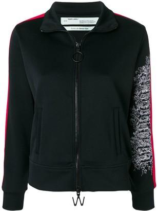 Off-White embroidered sleeve zipped sweatshirt