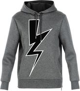Neil Barrett Slate Blue Lightning Bolt Hoodie