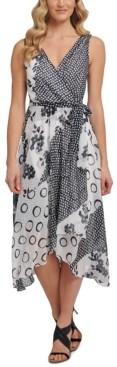DKNY Double-v Mixed Print Faux-Wrap Dress