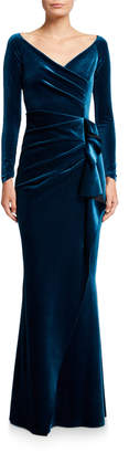 Chiara Boni V-Neck Long-Sleeve Side Drape Velvet Wrap Gown