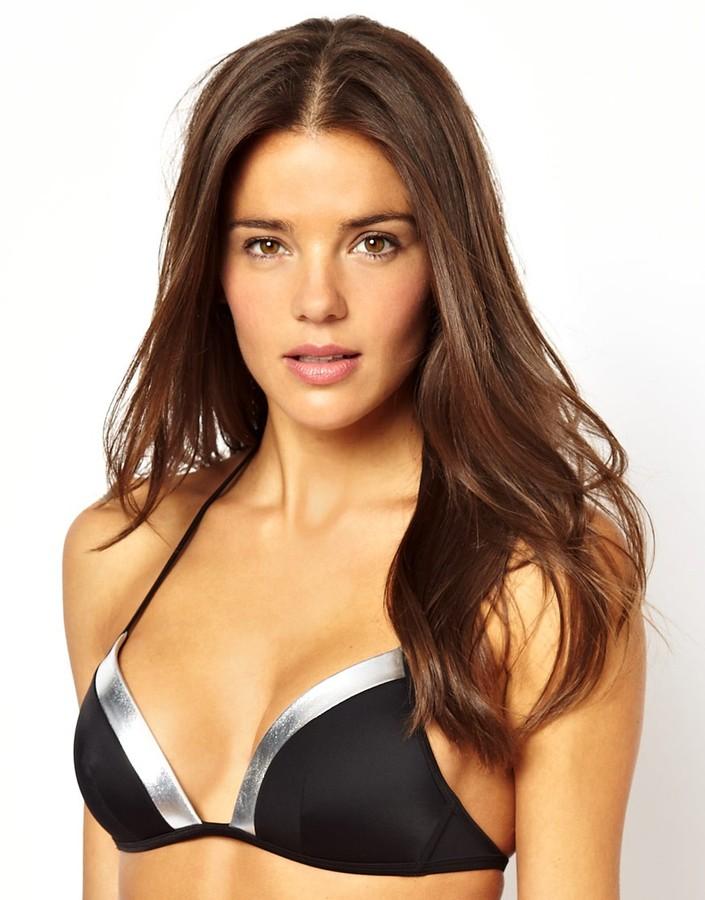 Vero Moda Silver Trim Moulded Triangle Bikini Top - Black