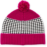 Neiman Marcus Cashmere Colorblock Pompom Hat, Black/White/Fuchsia