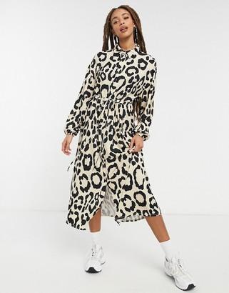 ASOS DESIGN shirt dress in leopard print