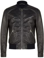 Dolce & Gabbana Leather Zip Bomber Jacket