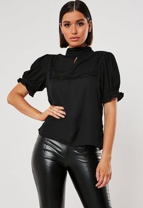 Missguided Black Short Sleeve Lace Trim Detail Blouse