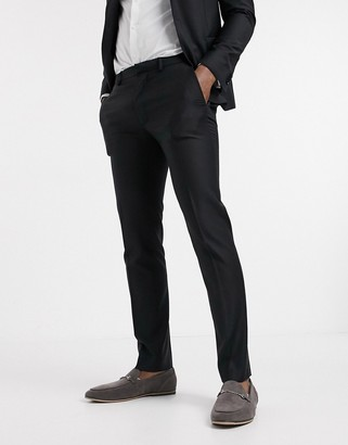 Asos Design DESIGN wedding skinny suit trouser in black 100% wool