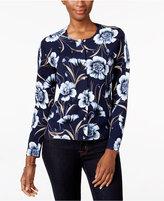 Karen Scott Petite Floral Cardigan, Only at Macy's