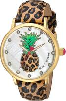 Betsey Johnson Women's BJ00496-60 Pineapple Motif Dial and Leopard Strap Watch