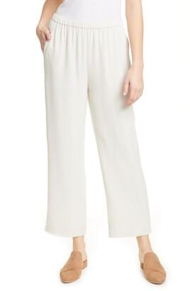 Eileen Fisher Straight Leg Silk Ankle Pants
