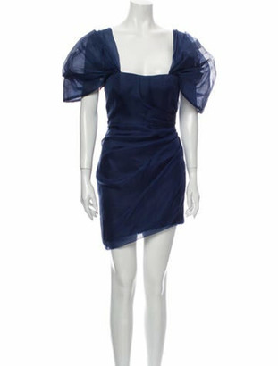HANEY Square Neckline Mini Dress Blue