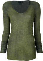 Avant Toi sheer fitted knitted top