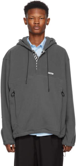 Off-White Grey Polar Fleece Hooded Anorak Jacket