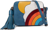 Anya Hindmarch Paneled Ayers, Calf Hair And Leather Shoulder Bag - Petrol
