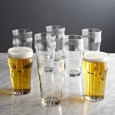 Crate & Barrel Pint Glass Tumblers with Crown, Set of 8