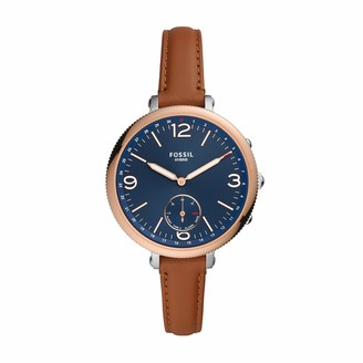 Fossil Women's Monroe Stainless steel and leather Hybrid Smartwatch Color: Brown (Model: FTW5083)