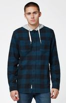 Modern Amusement Hooded Flannel Long Sleeve Button Up Shirt