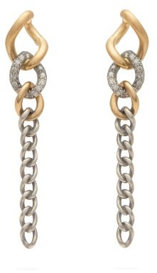 hum Diamond And 18kt Gold Chain Link Drop Earrings - Womens - Silver Gold