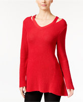 Style&Co. Style & Co Petite High-Low Cutout Sweater, Only at Macy's