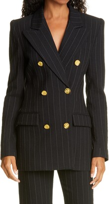 Smythe Ski Slope Pinstripe Double Breasted Cotton & Wool Blazer