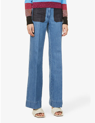 Victoria Beckham Patch-pocket flared high-rise jeans