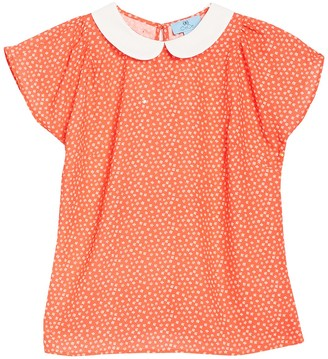 Cece By Cynthia Steffe Peter Pan Collar Short Sleeve Printed Woven Top (Petite)