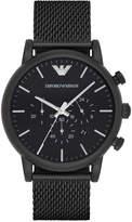 Emporio Armani Men's Chronograph Luigi Black Stainless Steel Mesh Bracelet Watch 46mm AR1968