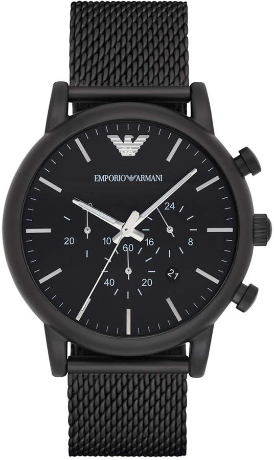 Emporio Armani Men's Chronograph Black Stainless Steel Mesh Bracelet Watch 46mm AR1968