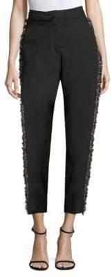 Derek Lam Tapered Wool-Blend Fringe Pants