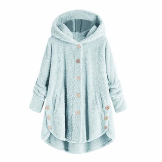 Hulky Coats & Jackets HULKY Womens Coat Side Button Fluffy Tail Tops Hooded Loose Warm Pullover Sweater Long Teddy Bear Jacket Faux Fur Coats(Gray 3 XXXXX-Large)